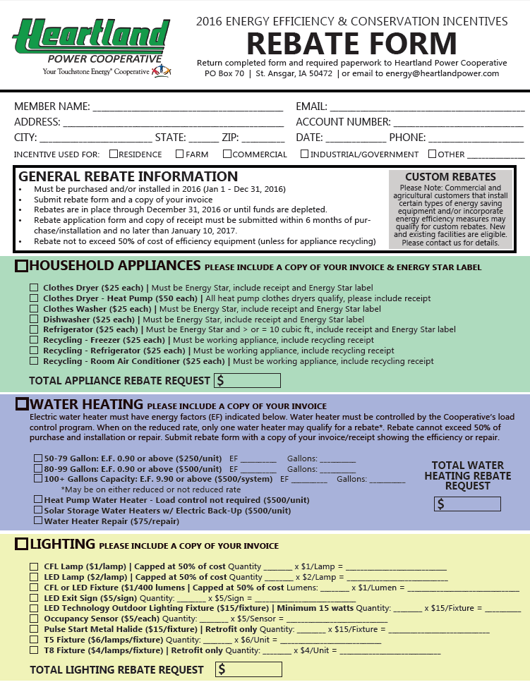 Heartland Power Rebate Form - Link