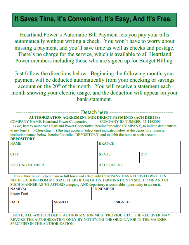 Auto Bill Payer : Automatic bill payment form heartland power cooperative